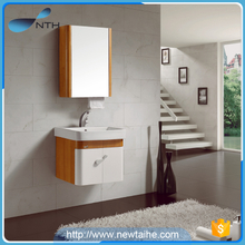 Wooden wall hung bathroom vanities with mirror cabinet